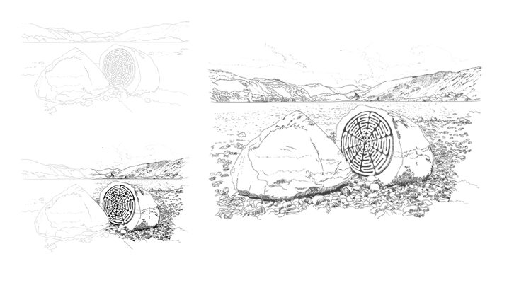 Drawing of 100 Year Stone showing progress from outline to final picture
