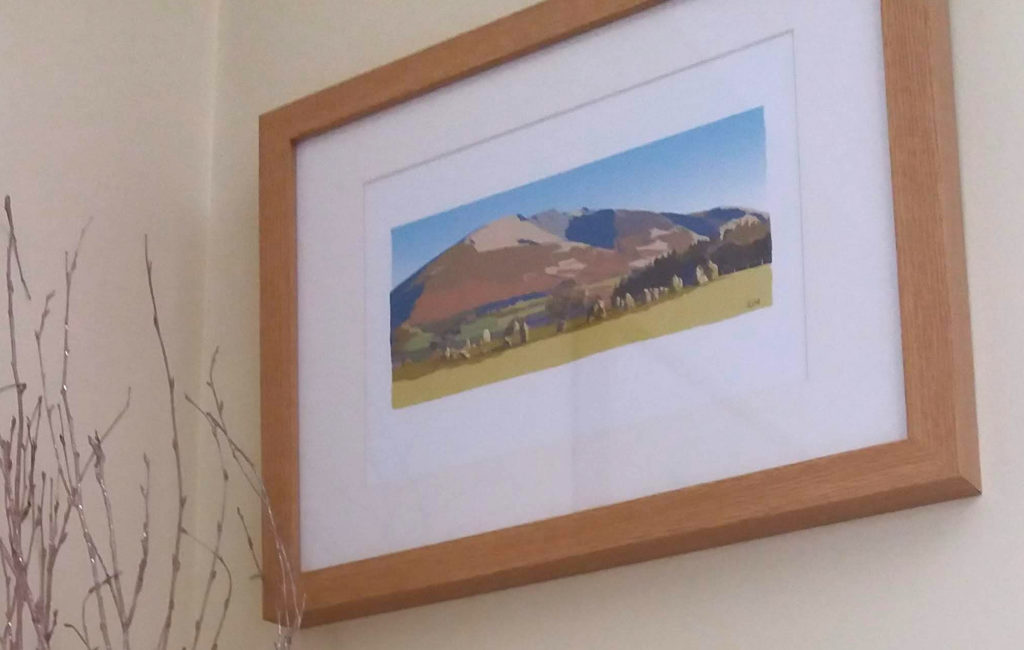 Blencathra and Castlerigg Stone Circle - painted in poster style and framed.
