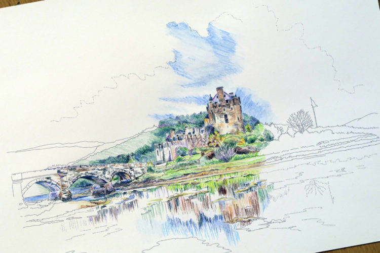 Part coloured sketch of Eilean Donan Castle from Colour Sketch