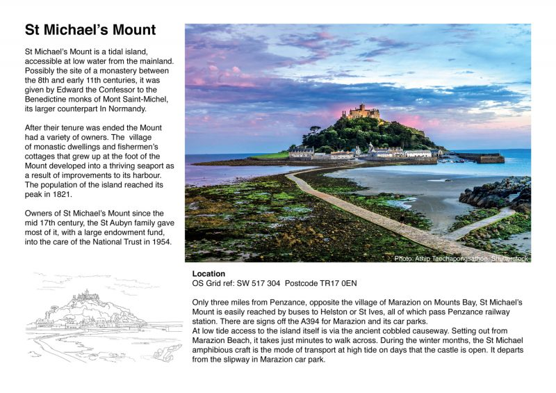 Colour Sketch Cornwall St Michaels Mount page