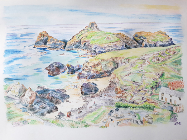 Kynance Cove Cornwall Pencil drawing