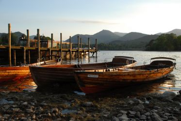 Derwentwater boats - setting sun